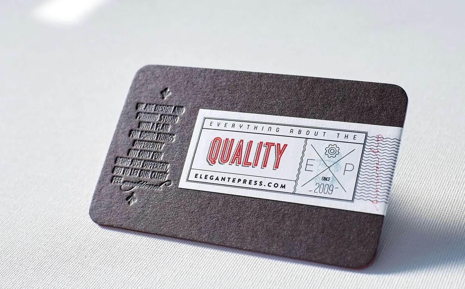 vintage styled letterpress business card with engraved label 2 - Letterpress Business Cards