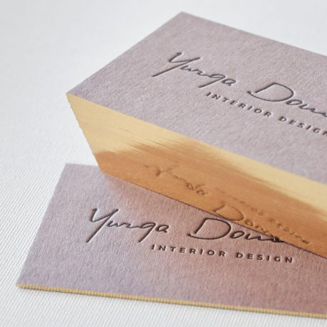Letterpress printing design studio elegante press brown letterpress business card with single gilded edge online reheart Choice Image