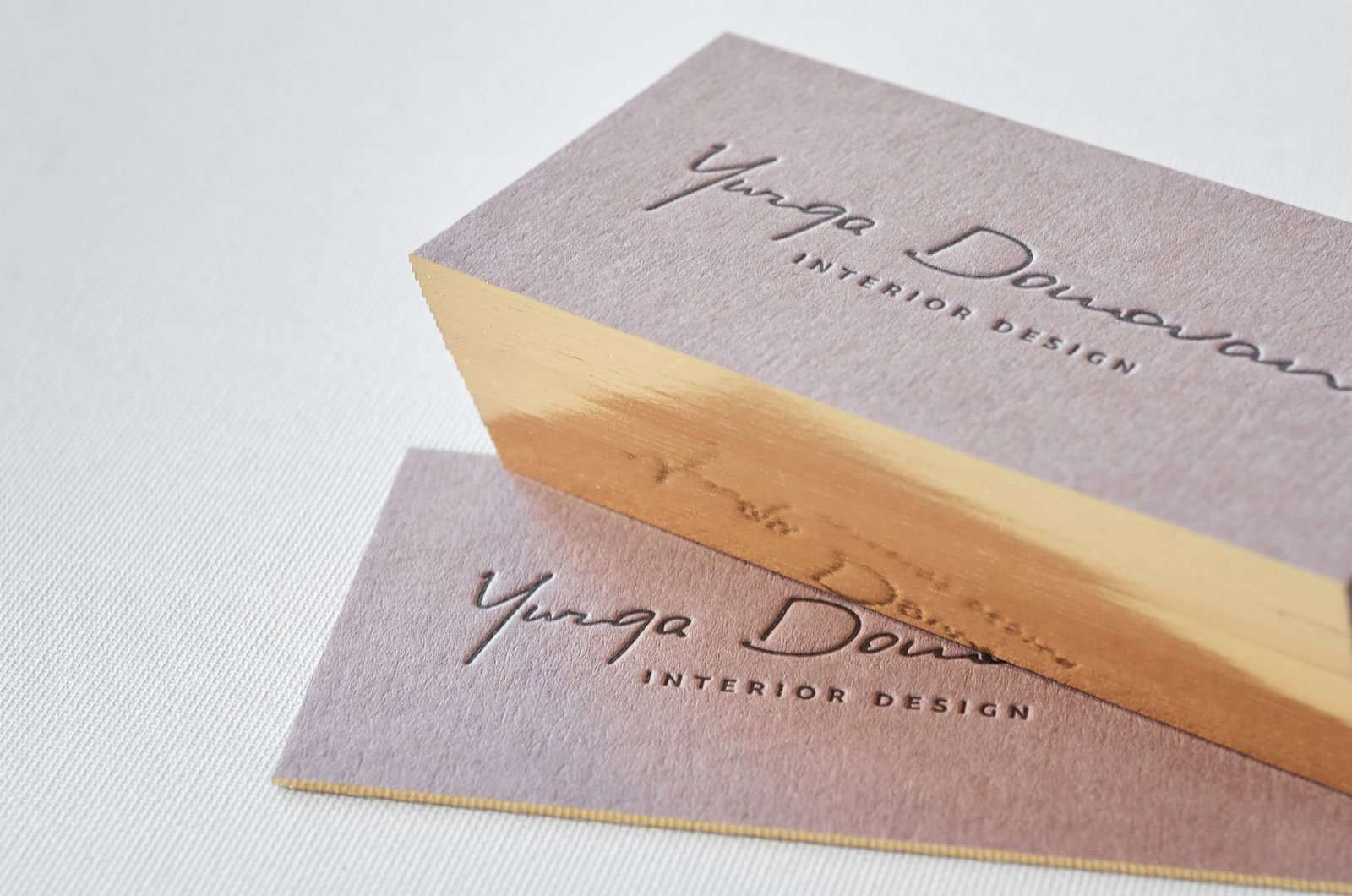 Captivating Brown Letterpress Business Card With Single Gilded Edge Online
