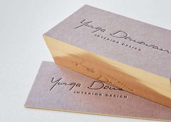 Brown business cards with single gilded edges elegante press - Business name for interior design company ...