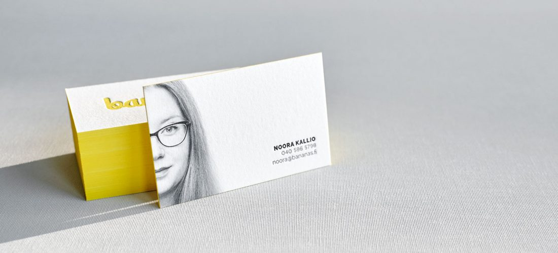 letterpress business card with portrait and painted edges 1