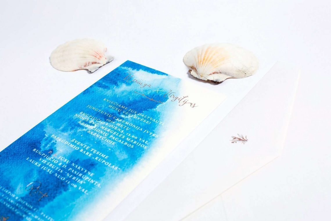 ocean blue wedding invitation