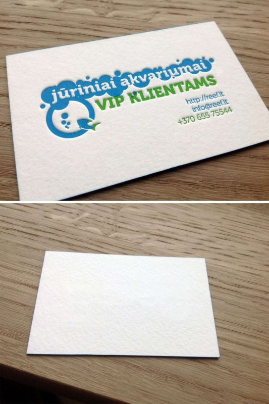 Letterpress deboss bruising on the back side of business card