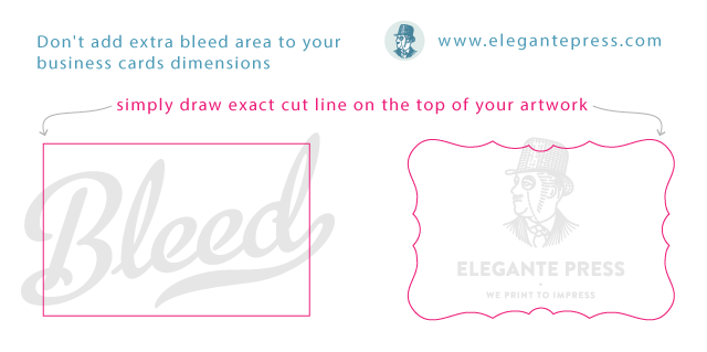 Business card sizes shapes elegante press professional business card bleed reheart Images