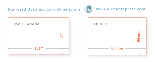 Business card sizes shapes elegante press professional business card size reheart Gallery