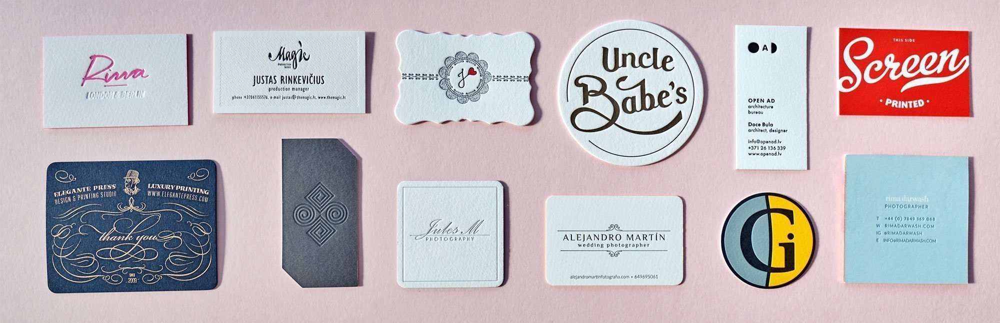 Business Card Sizes & Shapes | ELEGANTE PRESS