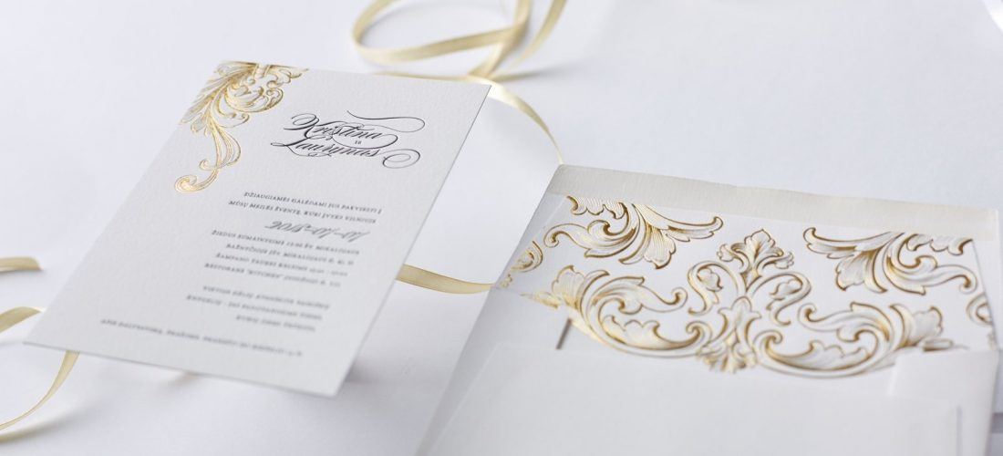 Victorian style Letterpress wedding invitation 2