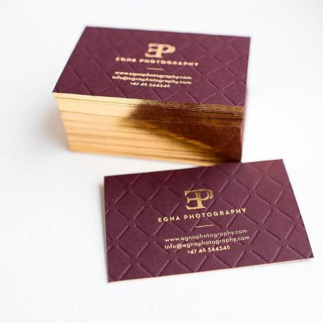 Business cards with blind debossed pattern and gold edges