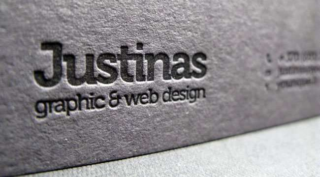 Dark grey letterpress business card | ELEGANTE PRESS